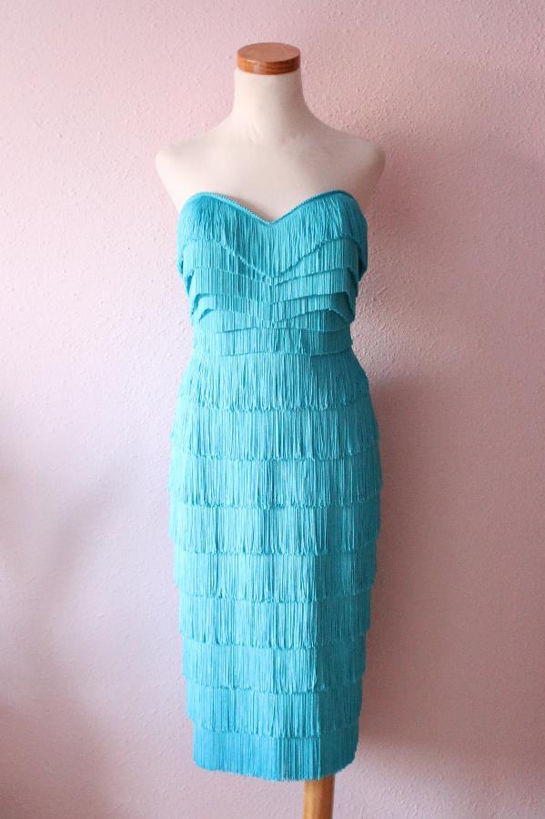 Nicole fringe dress turquoise2b