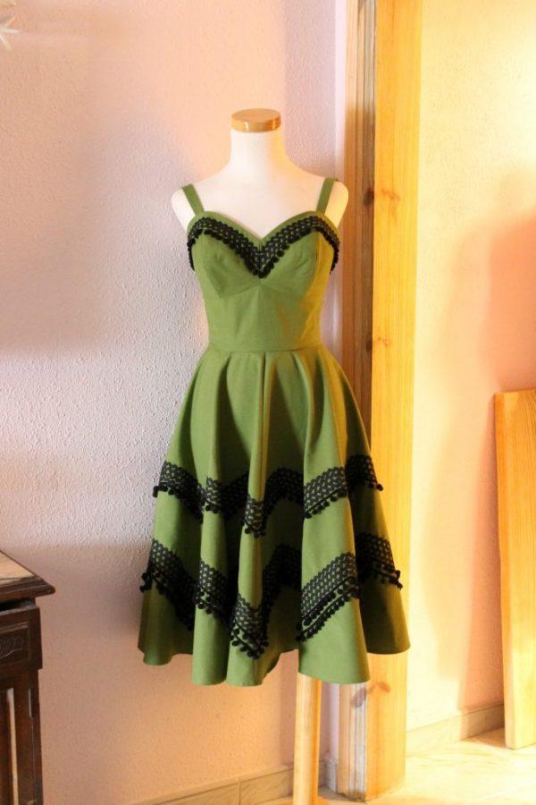 Susan dress green canvas